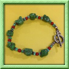 925 Silver Genuine Green And Blue Turquoise Red Coral Nugget Bali Bead Bracelet