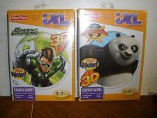2 NEW Fisher Price iXL Learning System Games Green Lantern, Kung Fu Panda 2