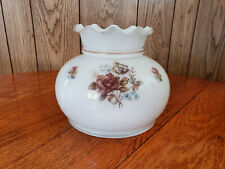 """Vintage Hurricane Lamp Shade Milk Glass Ruffle Roses Frosted Fits a 7"""" Fitter"""