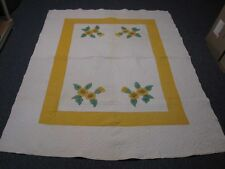 ANTIQUE HAND STITCHED QUILT WHITE w EMBROIDERED YELLOW FLOWERS INTRICATE DETAIL!