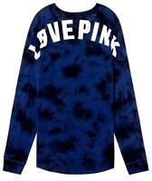 Victoria Secret PINK Logo Varsity Crew Long Sleeve Tee Top L Blue Tie Dye NWT