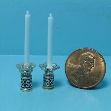 Dollhouse Miniature Unique Candlesticks Bronze with Turquoise Accent