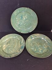 "SET 3 Mackenzie Childs Green Marble Swirl 12"" dinner plates chargers BEAUTIFUL"