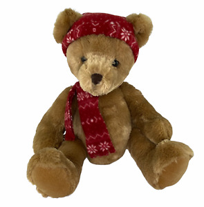 Russ Berrie Aspin Plush Brown Sitting Bear with Red Snowflake Hat Scarf