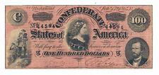 T-65 PF-1 CR-491 1864 Confederate States of America $100 Note No.44564 Dark Red
