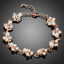 New Fashion Rose Gold Plated Clear CZ Stones Pearl Flower Bracelet Women Jewelry