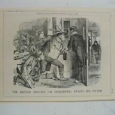 "7x10 ""punch CARICATURE 1858 LE British brigand aubergiste attend sa victime"