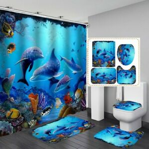 3D Undersea World Shower Curtain Floor Mat Toilet Lid Cover Bathroom Rugs Whale