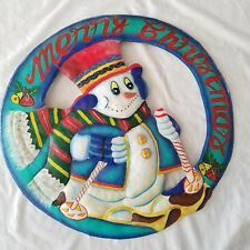 Vintage Frosty The snowman Round Metal Wreath Wall Hanging Merry Christmas Ski
