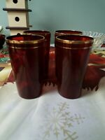 """Ruby Red Depression Glass (6) water Tumblers gold trim 4 3/4"""" T Midcentury"""