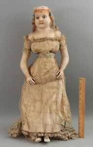 Large 27in Antique 19thC Wax Head Doll w/ Glass Eyes & Original Clothes & Shoes