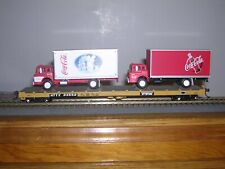 ATHEARN #????  T.T.X. 60' Flat Car #93558 w/2 Coke Van Trucks H.O.Scale 1/87