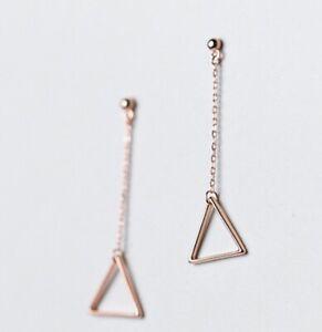 Women 925 Sterling Silver Dainty Rose Gold Triangle Tassel Stud Earring