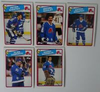 1988-89 Topps Quebec Nordiques Team Set of 5 Hockey Cards
