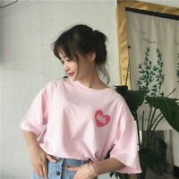 Women Summer Harajuku Kawaii T-shirt Fashion Pink Loose Short Sleeve Blouse Tops