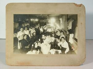 ca1910 NEW YORK GARMENT FACTORY SEWING ROOM INTERIOR CARD MOUNT PHOTOGRAPH