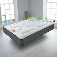 BLACK QUILTED SPRUNG MATTRESS 3FT 4FT'6 5FT MEMORY FOAM TOPPED MATTRESS DOUBLE