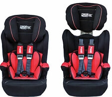 Sumex Black Red Child Baby 9-36kg Group1/2/3 Padded Car Booster Seat with Isofix