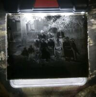 """Antique Glass Dry Plate Photo Negative 4""""×5"""" Photograph Family"""