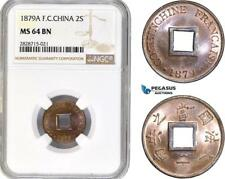 AC932, French Cochin-China, 2 Sapeque 1879-A, Paris, NGC MS64BN