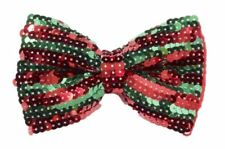 Christmas Bow Tie Costume Accessory Red Green Sequins Bowtie Adult Mens Std New