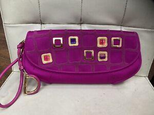 Christian Dior Pink Jewelled D Gold Clutch Wristlet Bag