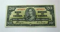 1937 BANK OF CANADA $20 DOLLARS BANKNOTE  BC-25c Goyne Towers XF++