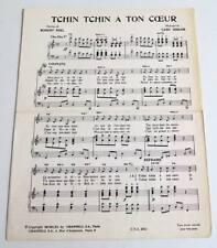 Partition vintage sheet music BOURVIL : Tchin Tchin à ton Coeur * 60's NYEL