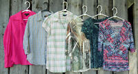 Lot of 6 Womens Shirts Tops Blouses Plaid Floral Size Large Sonoma Route 66