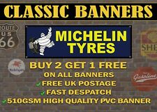 Classic Michelin Tyres Banner for Garage / Workshop Retro Navy and Yellow