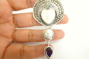 Goddess Face Amethyst Mabe Pearl 925 Sterling Silver Dangle Drop Pendant