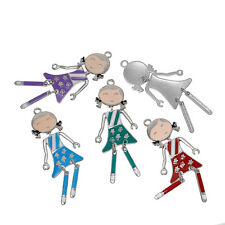 Charm Pendants Girl Silver Tone At Random Flower Pattern Enamel 3 PCs