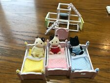 🐱🐱🐱 Calico Critters Tuxedo Cats Triplets + Play Gym + Triple Bunk Beds