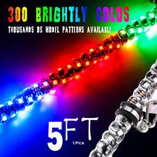5ft Lighted Spiral LED Whip Antenna w/Flag Remote for ATV Polaris RZR UTV BUGGY