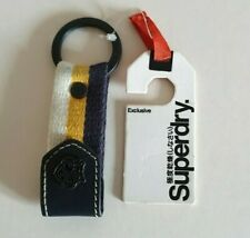 GENUINE SUPERDRY SEMESTER BLUE GOLD CREAM FABRIC KEY RING / KEYRING / FOB - NEW