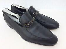 MORESCHI Mens Black Leather Horse Bit Slip On Loafers London Sz Eu 7.5 US 8.5