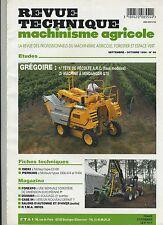 (4A)REVUE TECHNIQUE AGRICOLE GRÉGOIRE Machine à vendanger Tête de récolte A.R.C