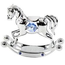 SWAROVSKI CRYSTAL ELEMENTS BABY / Regalo Di Battesimo-Blu ROCKING HORSE sp224