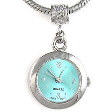 Baby Blue Silver Quartz Watch European Spacer Charm Bead For Bracelet EBA1