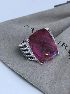 David Yurman Ster. Silver 16x20mm Wheaton ring Tourmaline & Diamonds Sz8