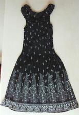ALFANI Womens SUNDRESS Sz 8 BLACK WHITE 100% Polyester Ruffles Paisley Stretch