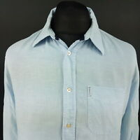 Armani Jeans Mens Shirt XL Long Sleeve Blue Regular Fit No Pattern Cotton Linen