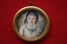 Miniatur  Dame vor Landschaft Spätrokoko bzw. Frühklassizismus um 1780