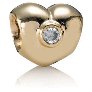 *Pandora 14k Puffed Heart w/Diamonds Charm #750294D/Retired