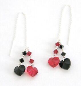 """""""IAJ"""" STERLING SILVER Threader Earrings w/ SWAROVSKI RED & BLACK DOUBLE HEARTS"""