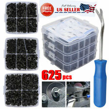 625Pcs Car Retainer Plastic Auto Fasteners Push Trim Clips Pin Rivet Bumper Kit