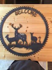Vintage Buzz Saw Blade Welcome Sign Buck Deer 28 Inches