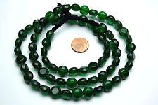 Strang 64 cm flache grüne runde antik bedampfte tablecut böhmische Perlen 10 mm