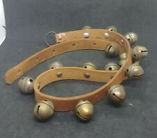 "Vintage 15 Bass Horse Sleigh Bells on 44"" Leather Strap Christmas"