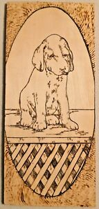 "VINTAGE 1960s HAND MADE WOOD ETCHED PUPPY ART 3.5"" X 8"" -- 3149"